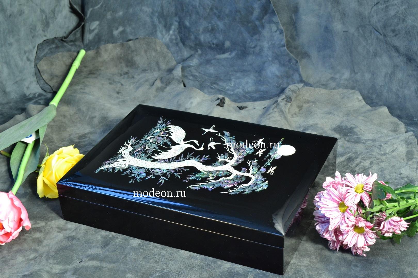 Шкатулка для хранения бумаг Птица под деревом