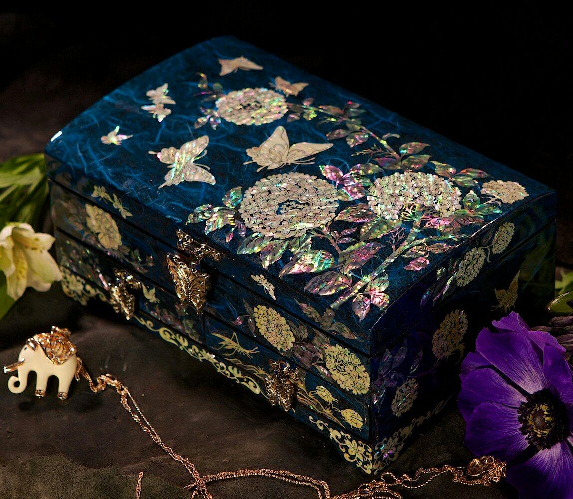 Шкатулка для украшений Хризантемы и бабочки, синяя