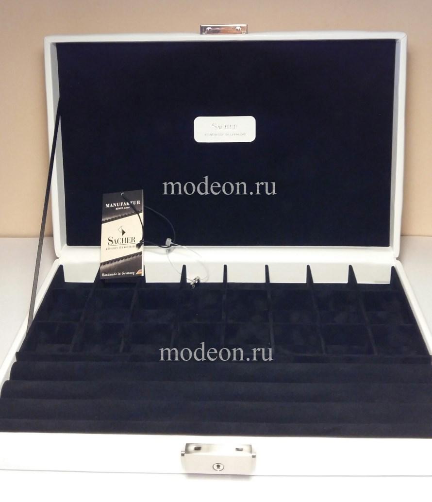 Шкатулка для запонок, колец мод2309 белая н/к, SACHER