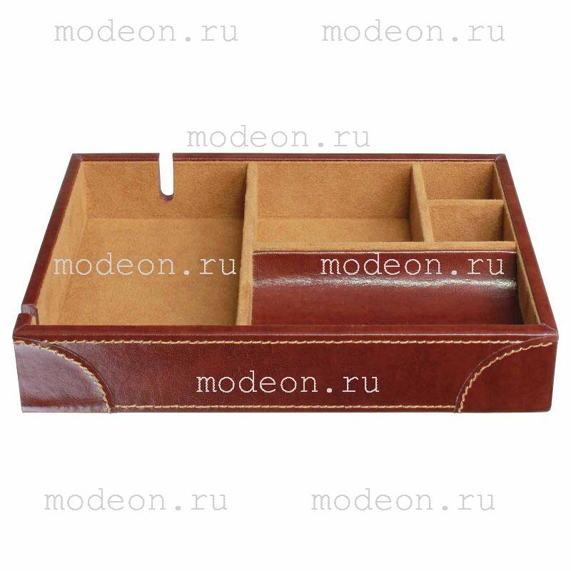 Открытая шкатулка для бумажника, запонок, аксессуаров Дувр, коричневая.
