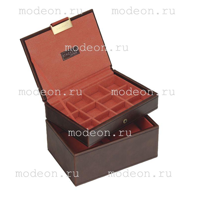 Шкатулка для украшений и запонок Кембридж, темно-коричневая.