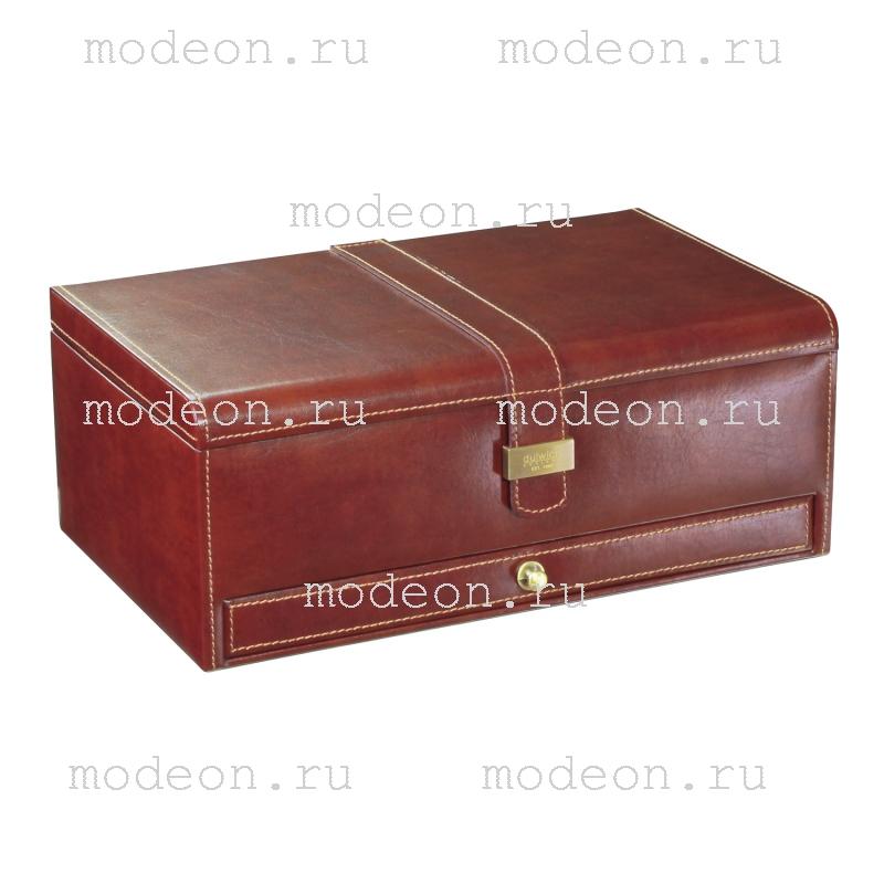 Шкатулка для хранения 10 часов и запонок Линкольн, коричневая