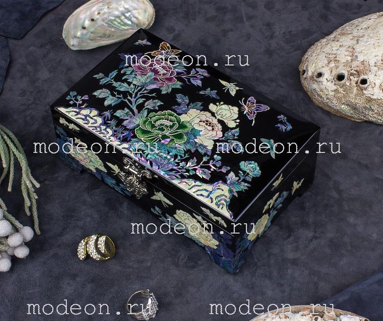 Шкатулка из перламутра Сад пионов