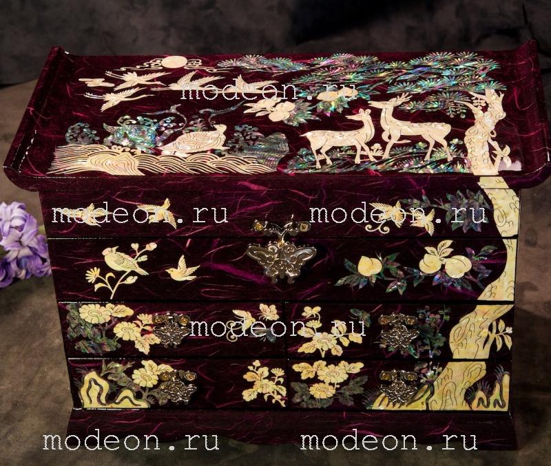 Перламутровая шкатулка Звери и птицы, фиолетовая