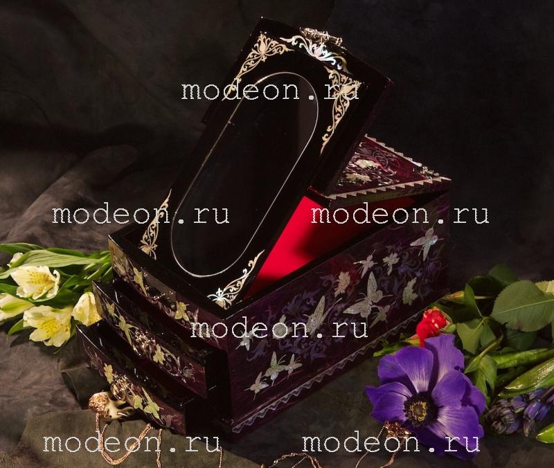 Шкатулка из перламутра с зеркалом Чаровница, фиолетовая