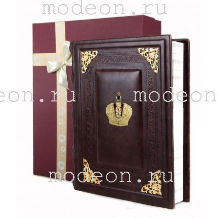 Фотоальбом из натуральной кожи с уголками Корона
