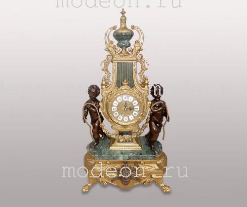 Часы каминные Джульетта,серо-зеленый мрамор, Lancini
