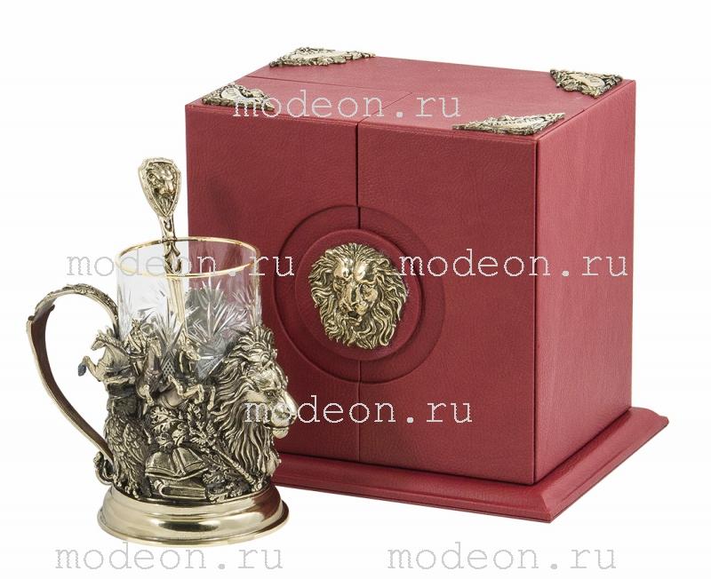 Набор для чая с ложкой Лев, подарочный
