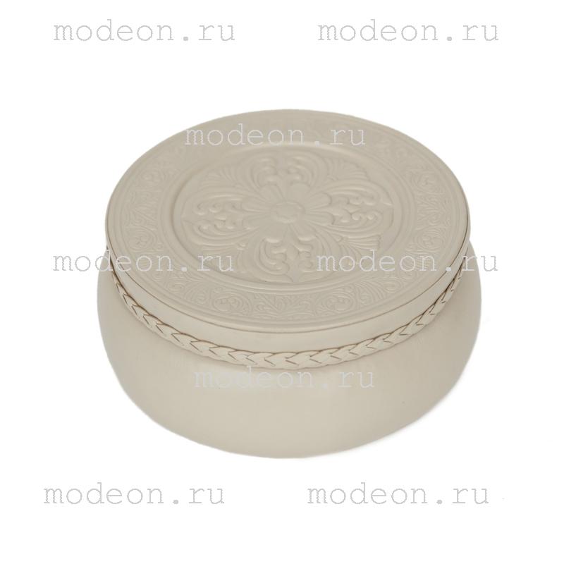 Шкатулка из кожи для украшений Белый круг, круглая
