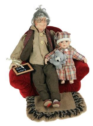 Фарфоровая кукла Дедушка Егор с внучкой, 46см.