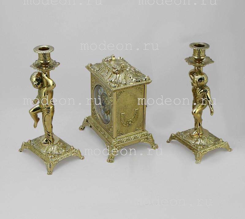 Часы каминные и 2 канделябра Барокко, два амура, золото