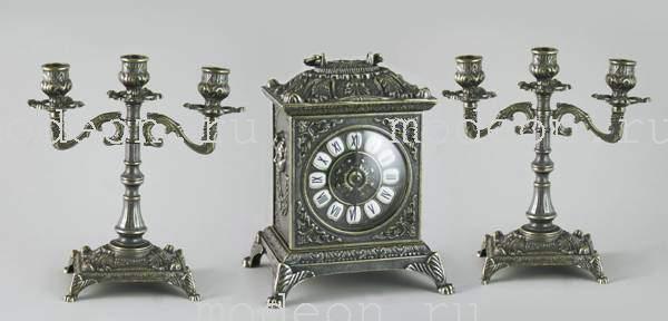 Часы каминные и 2 канделябра Барокко, 3 свечи, антик