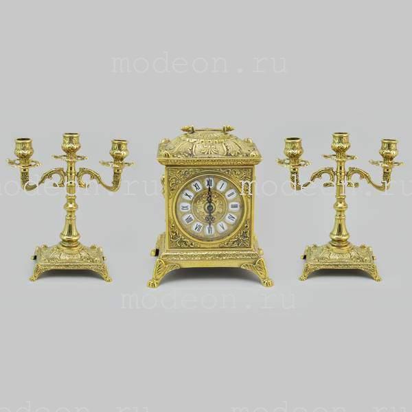 Часы каминные  и 2 канделябра Барокко, 3 свечи золото
