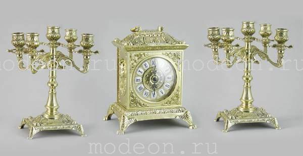 Часы каминные и 2 канделябра Барокко, 5 свечей, золото