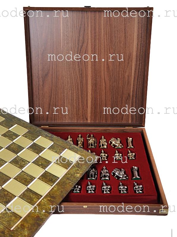 Шахматы металлические Античные войны, р28 коричневые