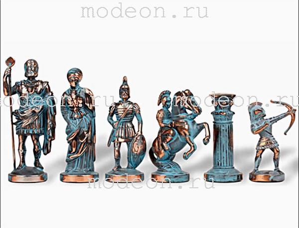 Шахматы металлические Античные войны, р44 синие