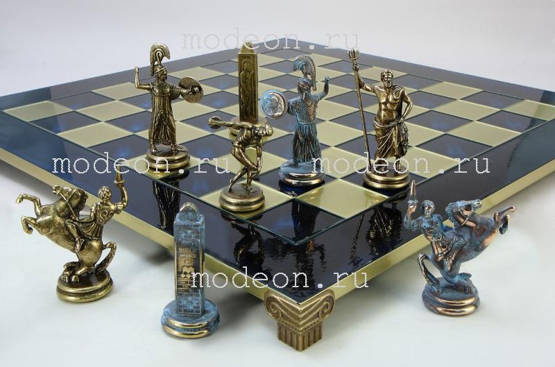 Шахматы металлические Олимпийские Игры, р54 синие