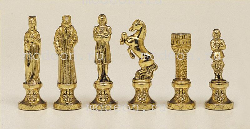Шахматы из металла Ренессанс, р36 коричневые