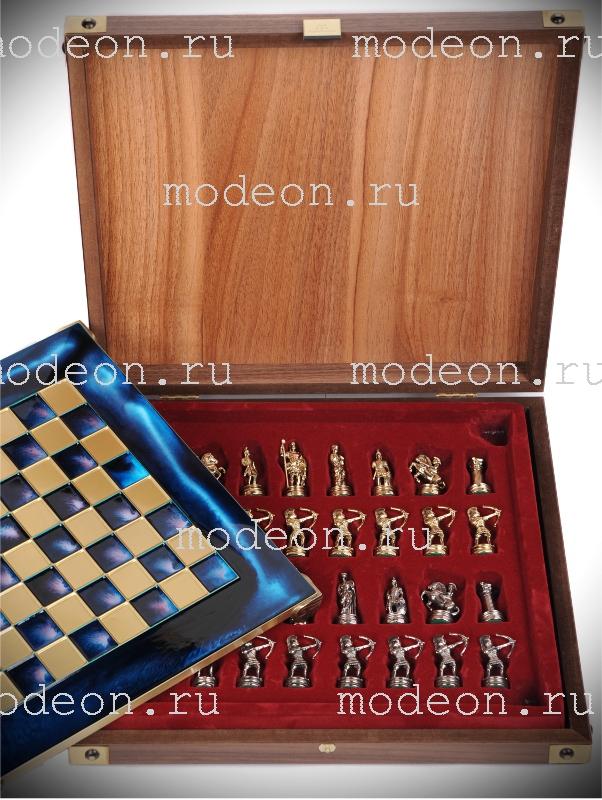 Шахматы металлические Троянская война, р36 синие