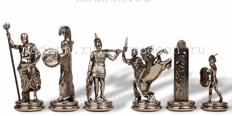 Шахматы металлические Троянская война, р54 коричневые