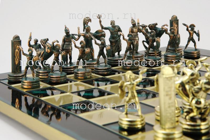 Шахматы из металла Троянская война, р54 зеленые