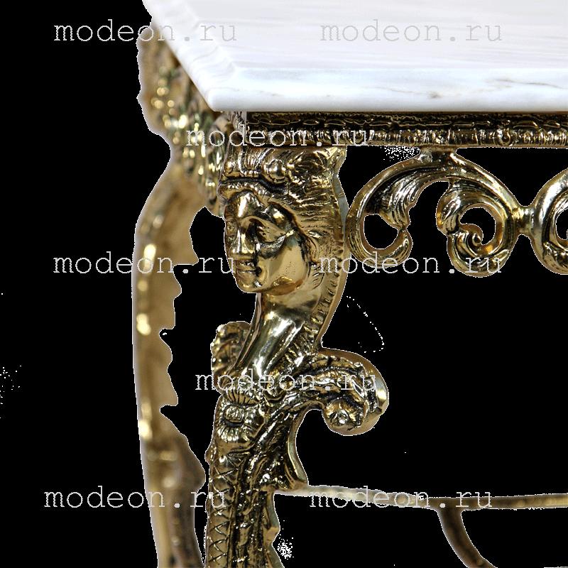 Столик прямоугольный с мраморной столешницей Ренессанс