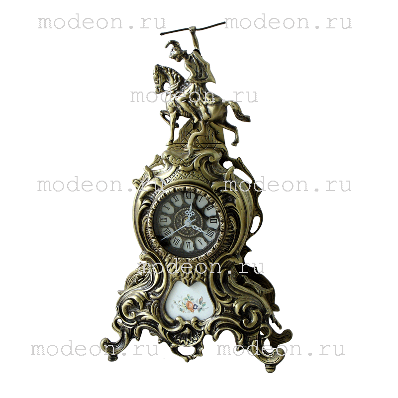 Часы каминные бронзовые Дон Жуан, антик