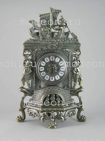 Часы каминные Ангелы в ладье с канделябрами на 5 свечей, антик