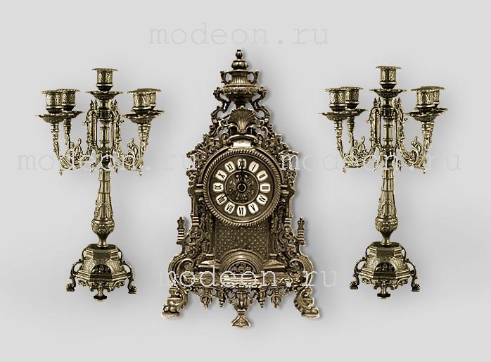 Часы каминные и 2 канделябра на 5 свечей, антик