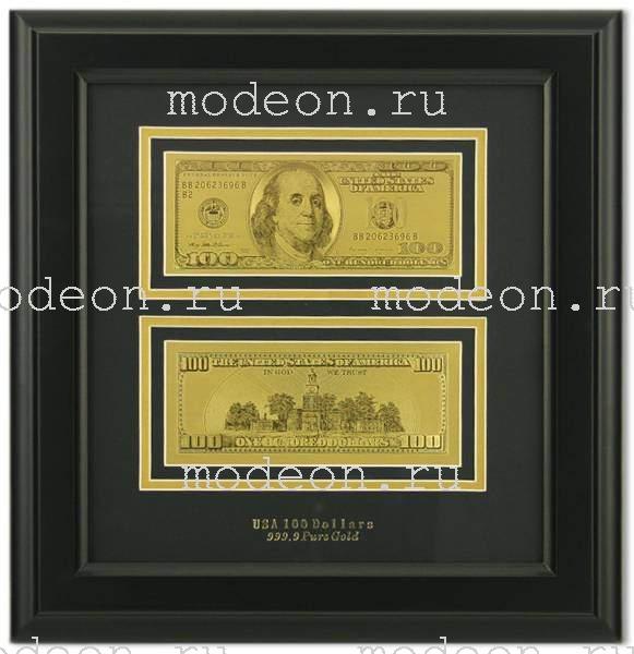 Картина с банкнотой 100 долларов США