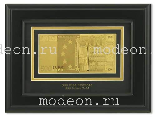 Картина с банкнотой 500 Euro односторонняя, мод1