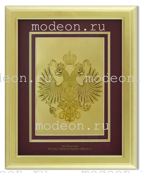 Картина с гербом РФ на красном фоне, сусальное золото Мод2