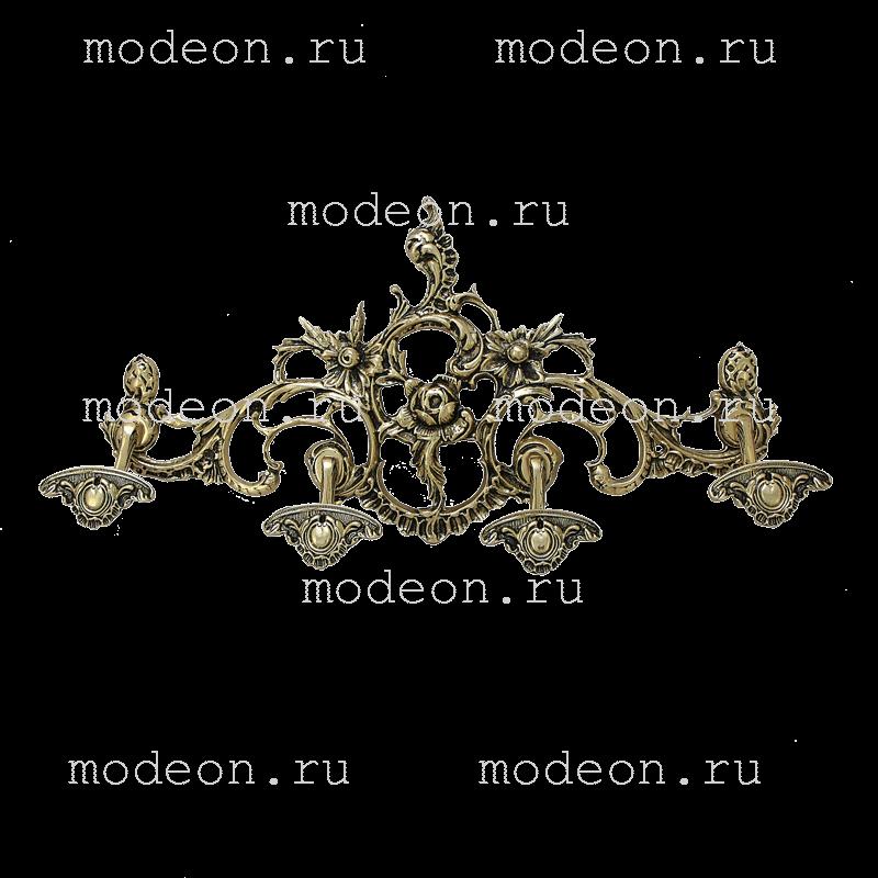 Вешалка настенная из бронзы на 4 крючка, мод1