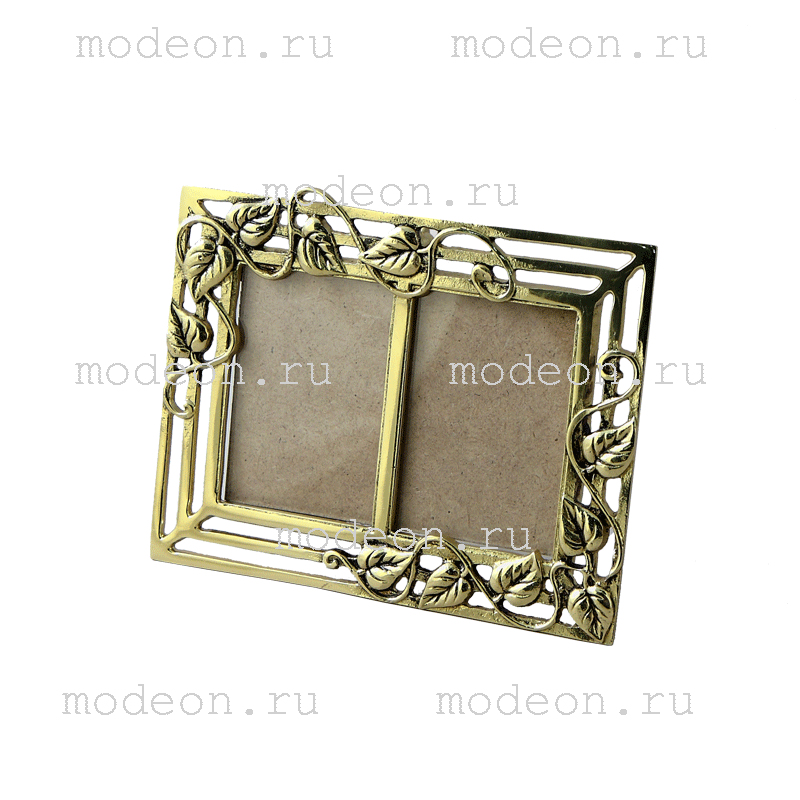 Рамка для 2 фото из бронзы Листья
