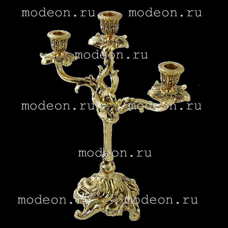 Канделябр высокий на 3 свечи Флор, золото