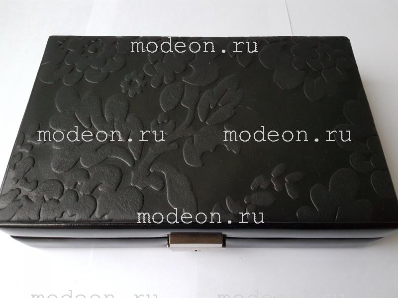 Шкатулка для гарнитуров, колец мод2310 Black Flowers н/к, SACHER