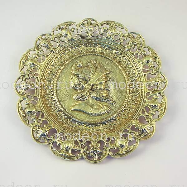 Декоративная тарелка из латуни Дон Кихот