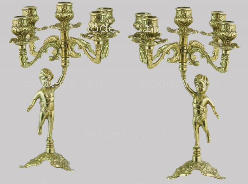 Пара подсвечников на 5 свечей Амурчики, золото
