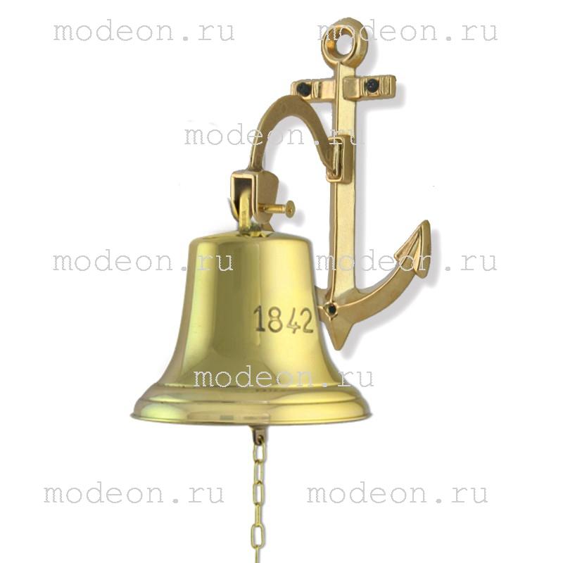 Колокол корабельный 1842 год Д-18, якорь, золото