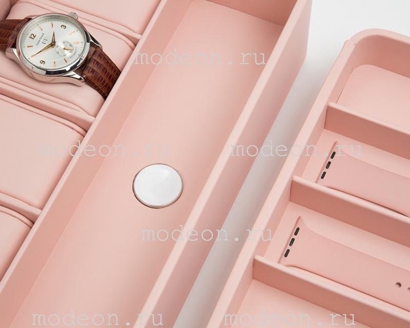 Бокс для 6 смарт-часов и Apple Watch, розовый, 463115 Wolf