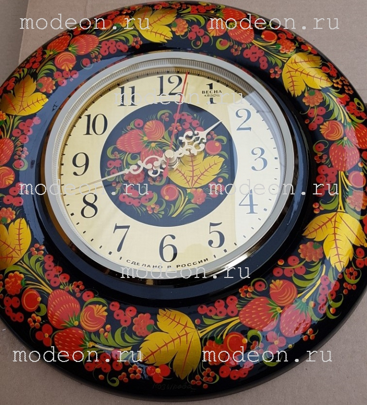 Часы настенные Хохлома - Клубника.