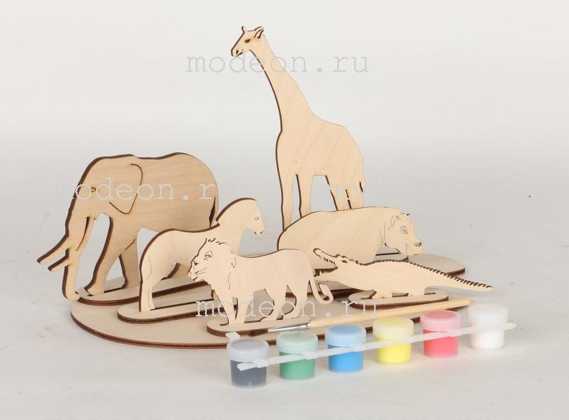Набор фигурок Африканские животные из дерева, для раскрашивания