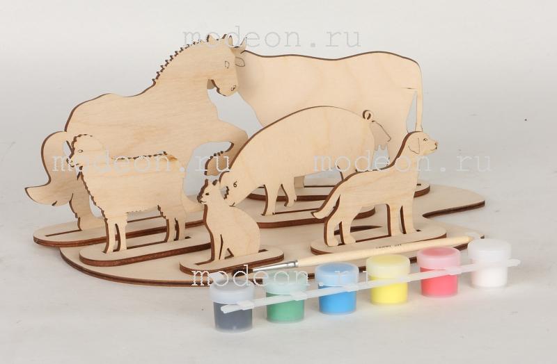 Набор фигурок Домашние животные из дерева, для раскрашивания