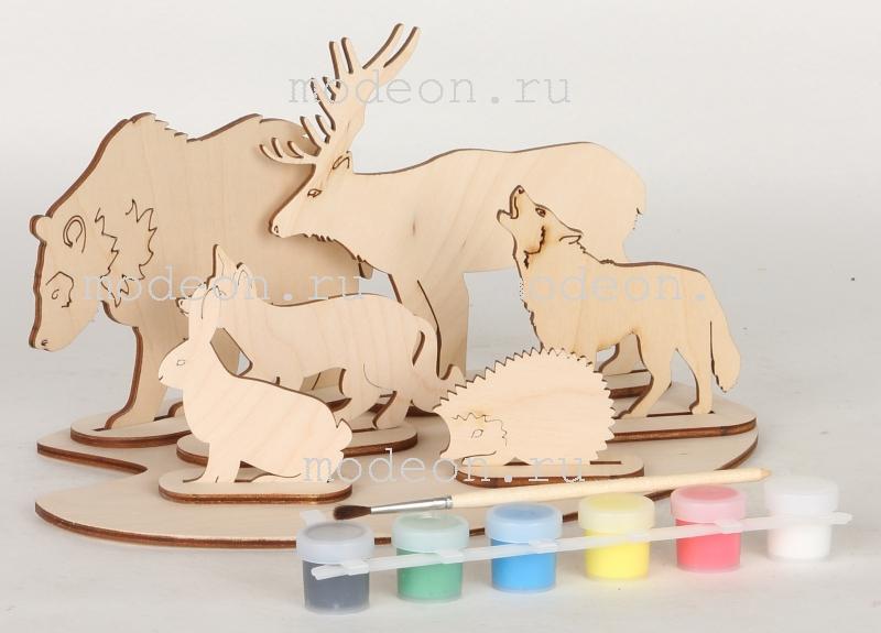Набор фигурок Дикие животные из дерева, для раскрашивания