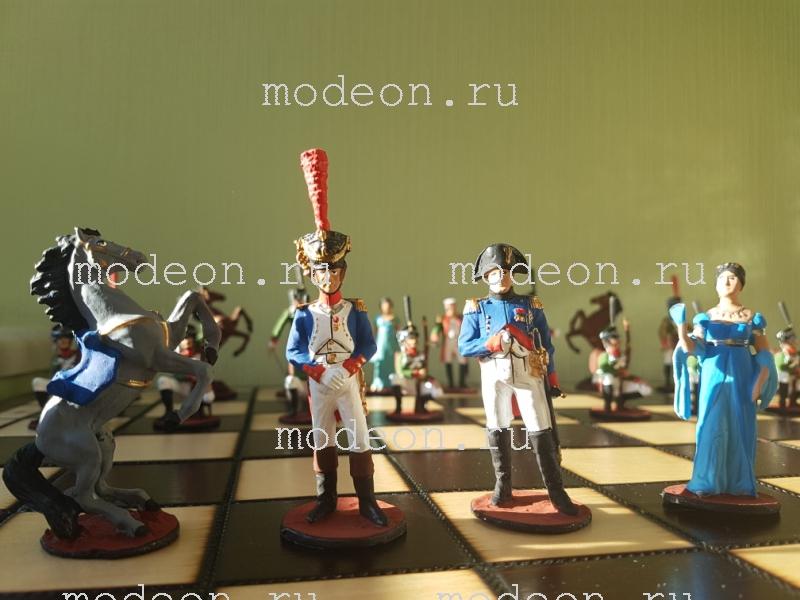 Шахматы оловянные с росписью Наполеон и Кутузов
