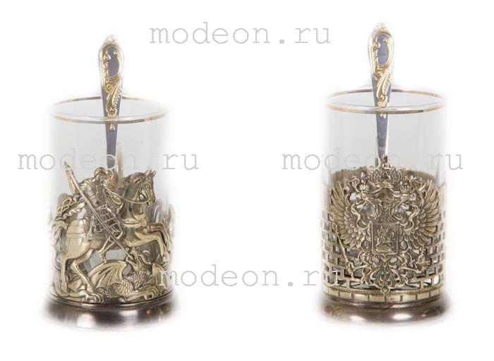 Чайная пара Гербовый и Георгий Победоносец, в футляре