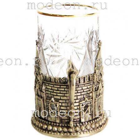 Подстаканник Герб, башни Кремля, в футляре
