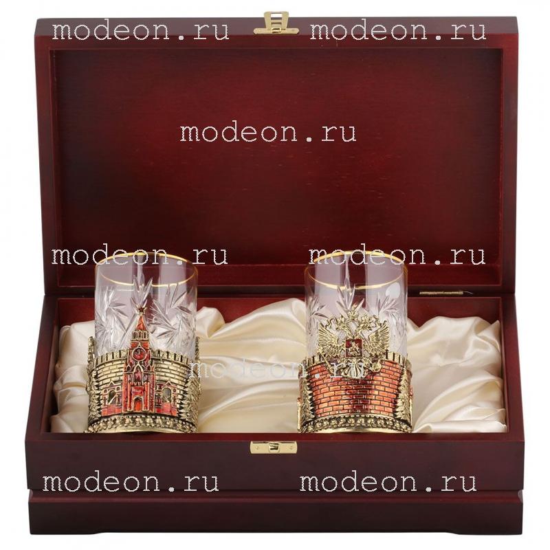 Чайная пара Герб России и Спасская башня, в деревянном футляре
