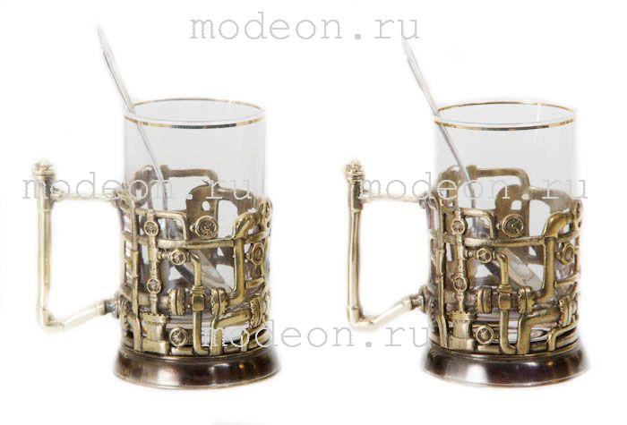 Чайная пара Газпром и трубопровод, в подарочном ларце