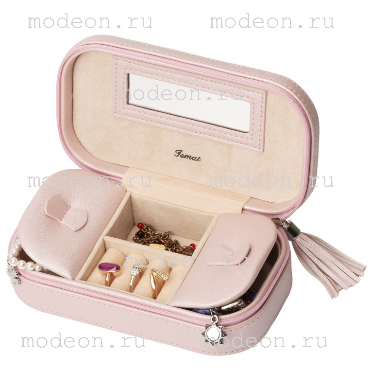 Дорожная шкатулка для украшений В отпуск, розовая
